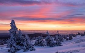 Обои зима, закат, горы