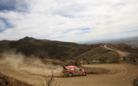 Обои Ford, Дорога, Пыль, Машина, Оранжевый, Rally, Размытие