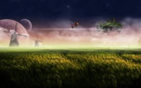 Обои мельницы, летучий, трава, остров