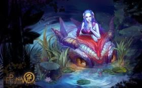 Картинка вода, девушка, цветы, ночь, дракон, аниме, арт