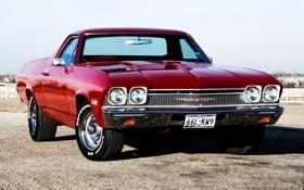 Картинка небо, красный, Chevrolet, мускул кар, классика, пикап, передок