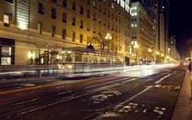 Картинка дорога, ночь, город, огни, здания, выдержка, фонари