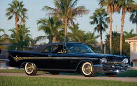 Обои небо, пальмы, классика, передок, красивая машина, Convertible, 1959