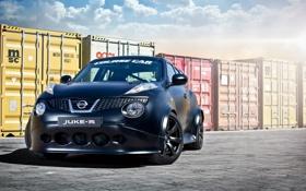 Обои черный, матовый, Nissan, ниссан, tuning, контейнеры, juke-r