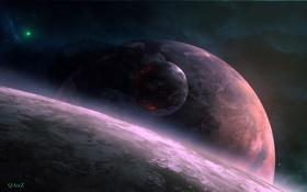 Картинка космос, звезды, спутник, арт, QAuZ, планеты