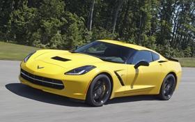 Обои желтый, скорость, Corvette, Chevrolet, шевроле, Stingray