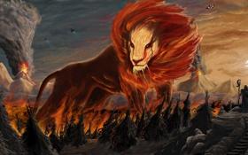 Обои взгляд, фантастика, лев, арт, грива, лава, извержение вулкана