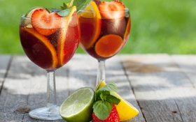 Обои лимон, клубника, коктейль, лайм, lemon, цитрусы, strawberry