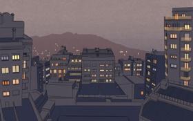 Картинка свет, огни, города, настроение, окна, дома, минимализм