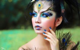 Картинка глаза, девушка, лицо, ресницы, макияж, прическа, перья павлина