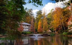 Картинка осень, лес, озеро, дом, фонтан, USA, США