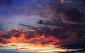 Картинка небо, облака, полет, закат, самолет