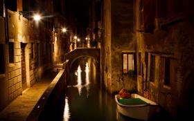 Обои ночь, огни, лодка, дома, фонари, Италия, Венеция
