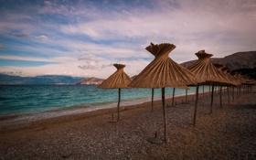 Картинка пляж, зонтики, Хорватия, Адриатика, Приморье-Горски