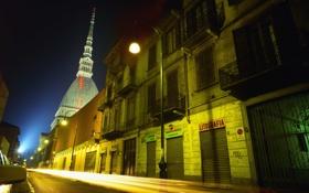 Обои ночь, огни, улица, здания, Италия, светильники, Турин