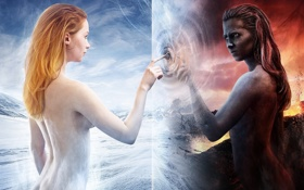 Картинка девушка, снег, горы, отражение, огонь, граница, Арт