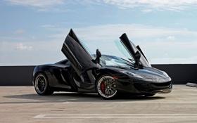 Картинка крыша, чёрный, McLaren, Макларен, парковка, black, вид сбоку