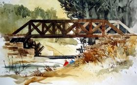 Обои река, мост, картина
