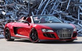 Обои красный, фон, Audi, тюнинг, Ауди, суперкар, Spyder