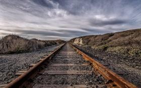 Картинка железная дорога, пейзаж, перспектива