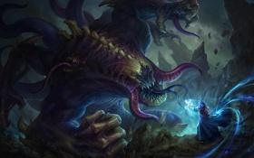 Обои монстр, бой, демон, фэнтези, арт, маг, зло