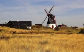 Картинка поле, дом, мельница