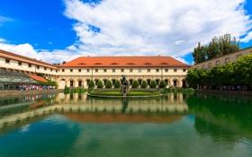 Обои небо, бассейн, Прага, Чехия, двор, фонтан, дворец