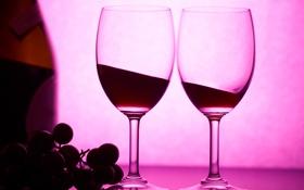 Обои вино, красное, бутылка, бокалы, виноград