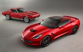 Обои красный, Corvette, Chevrolet, Шевроле, передок, Stingray, Корвет