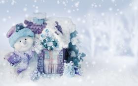 Обои winter, snow, новый год, snowman, рождество