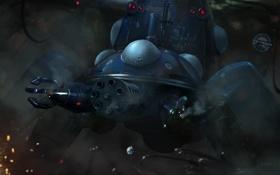 Картинка робот, пулемет, броня, Призрак в доспехах, Ghost in the Shell, гатлинг, Sergey Lesiuk