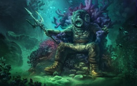Обои fantasy, underwater, ocean, background, men, sitting, helmet