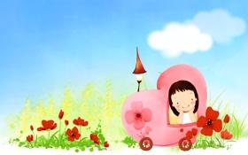 Картинка облака, цветы, улыбка, фонарик, девочка, автомобиль, детские обои