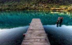 Обои природа, озеро, камни, мостик, гадка