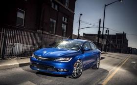 Обои фото, Ночь, Chrysler, Улица, Голубой, Автомобиль, 2015