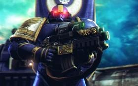 Обои warhammer 40000, Warhammer 40000 Space Marine, космодесантник, солдат, броня, Warhammer 40K, WH40K