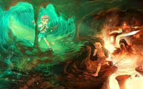 Обои дети, монстр, арт, лава, пещера