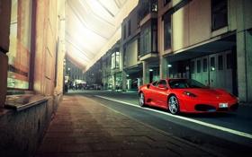 Обои город, улица, F430, Ferrari, red, феррари, красная