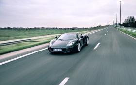 Обои дорога, разметка, чёрный, McLaren, скорость, black, MP4-12C