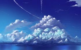 Обои облака, синий, небо, природа, голубой, картина