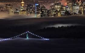 Картинка мост, огни, туман, дома, Канада, Британская Колумбия, West Vancouver