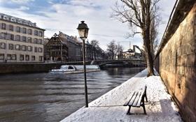 Обои зима, strasbourg, канал
