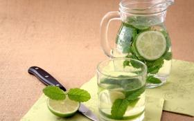 Обои стакан, нож, лайм, напиток, кувшин, мята, лимонад