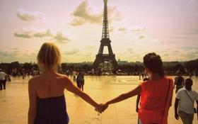 Обои путешествия, вместе, эйфелева башня, париж, дружба