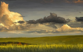 Обои горизонт, трава, природа, арт, поле, зелень, тучи
