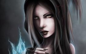 Картинка девушка, магия, рука, арт, капюшон, ведьма