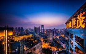 Обои небо, здания, Китай, Шанхай, сумерки, уличные фонари
