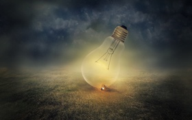 Картинка поле, ночь, лампы