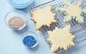 Обои снежинки, печенье, сладости, форма, выпечка, праздники, тесто