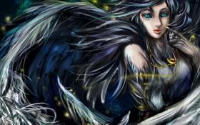 Обои девушка, крылья, перья, фэнтези, арт, кулон, цепочка